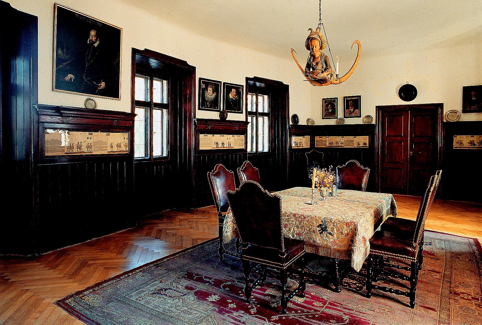 Zámek Březnice - renesanční jídelna. Foto: NPÚ