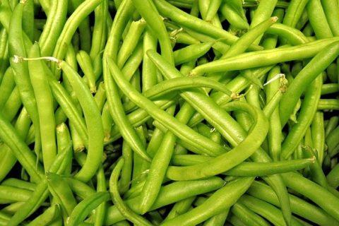 hromada zelených fazolek
